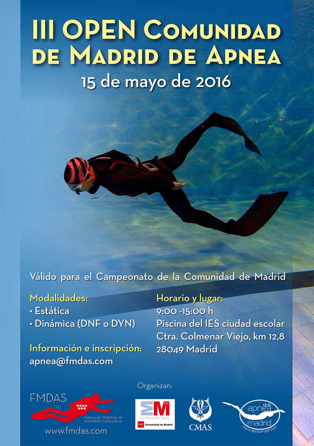 Club apnea madrid open comunidad de madrid 2016 for Piscinas comunidad de madrid 2016